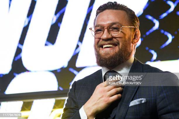 Mixed martial arts star Conor McGregor of Ireland attends a media briefing in central Moscow on October 24 2019 to announce his next MMA combat...