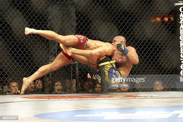 UFC 100 Georges StPierre vs Thiago Alves action take down during bout at Mandalay Bay Events Center Las Vegas NV 7/11/2009 CREDIT Greg Choat