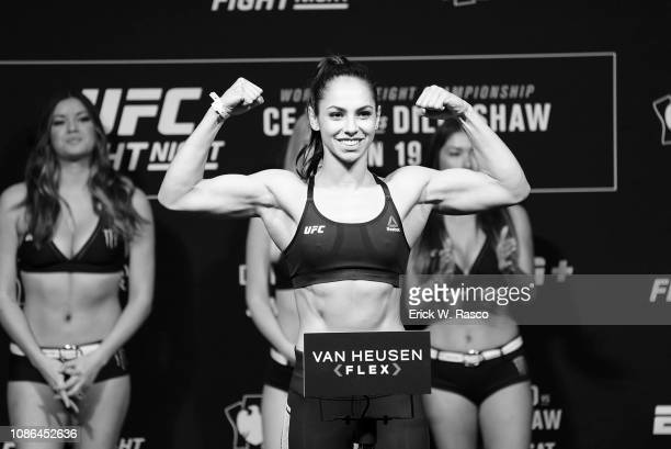 Ariane Lipski during weigh in before Women Flyweight preliminary card bout vs Joanne Calderwood at Barclays Center. Brooklyn, NY 1/18/2019 CREDIT:...