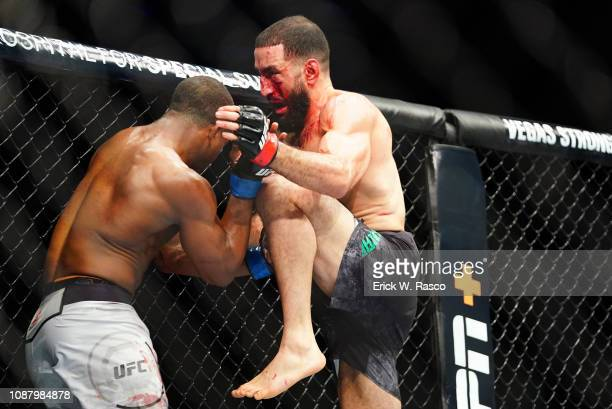 Geoff Neal in action vs Belal Muhammad during Welterweight early preliminary undercard bout at Barclays Center. Brooklyn, NY 1/19/2019 CREDIT: Erick...