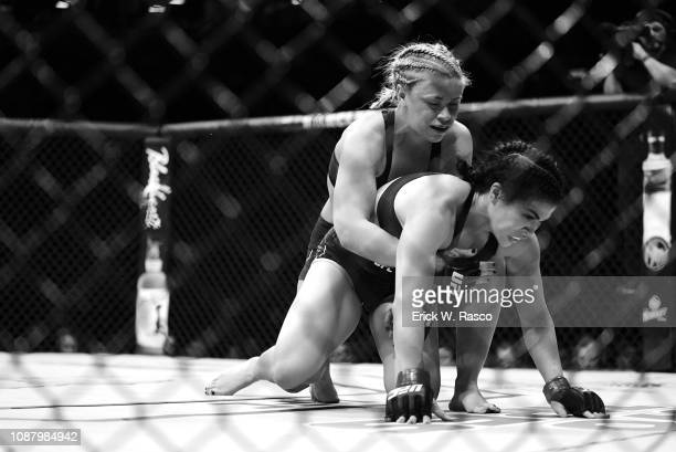 UFC 143 Rachael Ostovich in action during Women Flyweight bout vs Paige VanZant at Barclays Center Brooklyn NY CREDIT Erick W Rasco