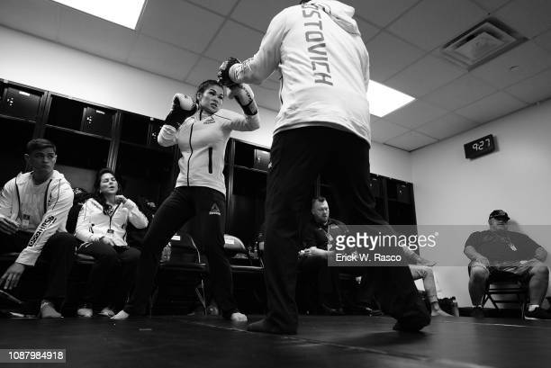 UFC 143 Rachael Ostovich warming up before Women Flyweight bout vs Paige VanZant at Barclays Center Brooklyn NY CREDIT Erick W Rasco