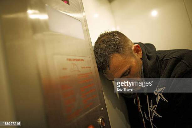 UFC 159 Closeup of Gian Villante resting on hotel elevator while trying to make weight before Men's Light Heavyweight fight vs Ovince Saint Preux at...