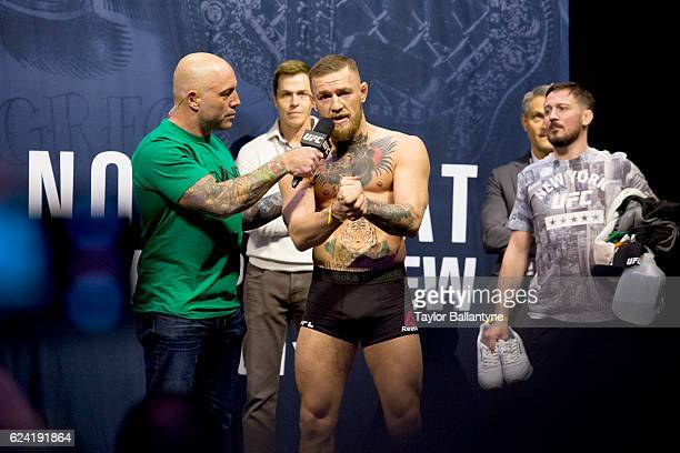 UFC 205 Conor McGregor during interview with UFC commentator Joe Rogan after weighin at Madison Square Garden New York NY CREDIT Taylor Ballantyne