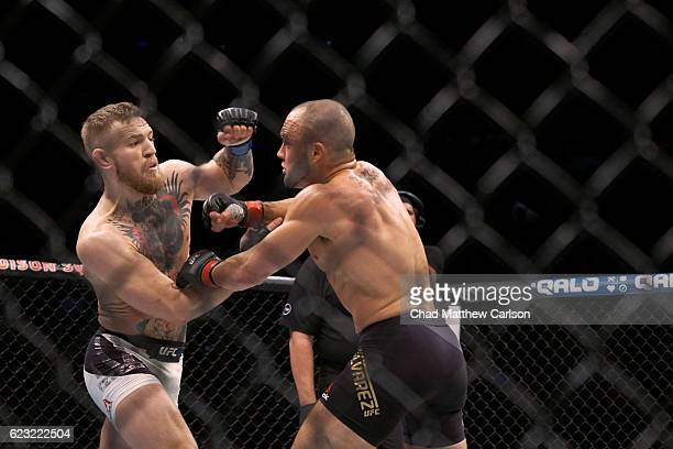 Conor McGregor in action vs Eddie Alvarez during Men's Lightweight fight at Madison Square Garden. New York, NY CREDIT: Chad Matthew Carlson