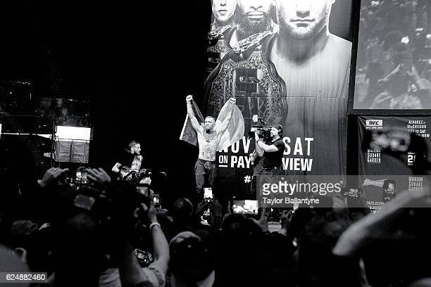UFC 205 Conor McGregor victorious with flag of Ireland during weighin before Lightweight fight vs Eddie Alvarez at Madison Square Garden New York NY...