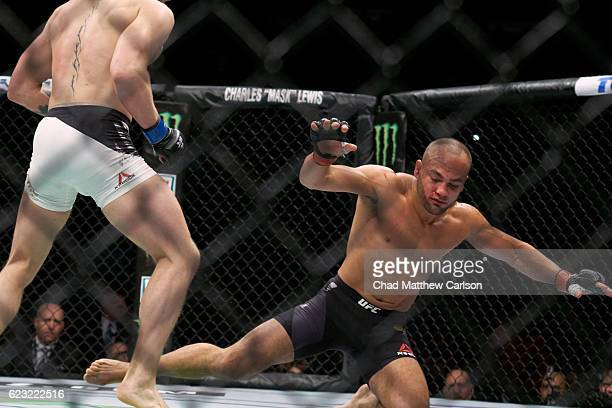 Eddie Alvarez in action, going down vs Conor McGregor during Men's Lightweight fight at Madison Square Garden. New York, NY CREDIT: Chad Matthew...