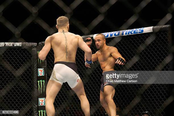 Rear view of Conor McGregor in action vs Eddie Alvarez during Men's Lightweight fight at Madison Square Garden. New York, NY CREDIT: Chad Matthew...