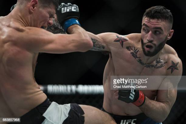 UFC 210 Shane Burgos in action vs Charles Rosa during Featherweight fight at KeyBank Center Burgos defeated Rosa by TKO at 159 in Round 3 Buffalo NY...