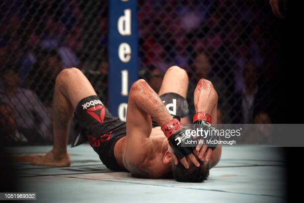 Tony Ferguson down on ring during Lightweight fight vs Anthony Pettis at T-Mobile Arena. Las Vegas, NV 10/6/2018 CREDIT: John W. McDonough