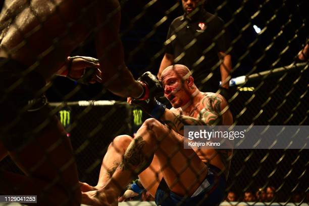 Anthony Smith in action during Light Heavyweight bout vs Jon Jones at T-Mobile Arena. Las Vegas, NV 3/2/2019 CREDIT: Kohjiro Kinno