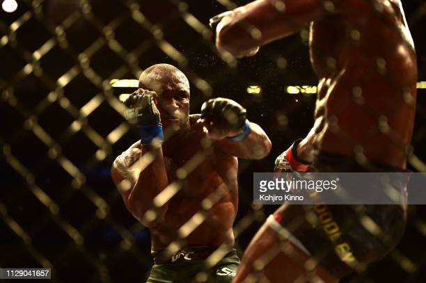 Kamaru Usman in action vs Welterweight bout vs Tyron Woodley at T-Mobile Arena. Las Vegas, NV 3/2/2019 CREDIT: Kohjiro Kinno