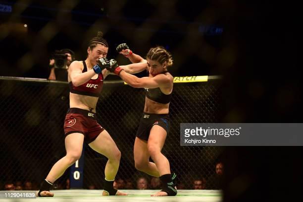 UFC 235 Weili Zhang in action during Women's Strawweight bout vs Tecia Torres at TMobile Arena Las Vegas NV CREDIT Kohjiro Kinno