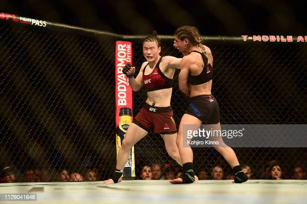 Weili Zhang in action during Women's Strawweight bout vs Tecia Torres at T-Mobile Arena. Las Vegas, NV 3/2/2019 CREDIT: Kohjiro Kinno