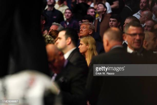 UFC 244 United States President Donald J Trump ringside during Derrick Lewis vs Blagoy Ivanov heavyweight bout at Madison Square Garden New York NY...
