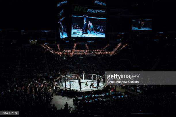 UFC Fight Night 116 Overall wide view of ring and crowd during Kamaru Usman vs Sergio Moraes welterweight bout at PPG Paints Arena Pittsburgh PA...