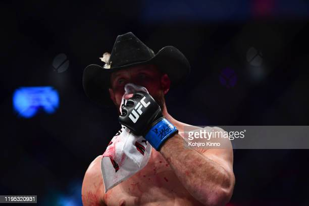 UFC Fight Night 246 Closeup of Donald Cerrone after knockout after Welterweight match vs Connor McGregor at TMobile Arena Las Vegas NV CREDIT Kohjiro...