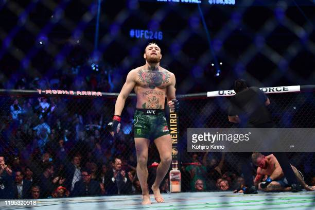 UFC Fight Night 246 Connor McGregor after knocking out Donald Cerrone during Welterweight match at TMobile Arena Las Vegas NV CREDIT Kohjiro Kinno