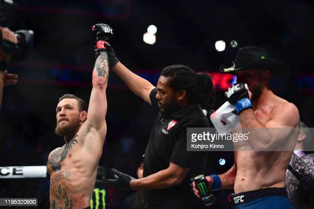 UFC Fight Night 246 Connor McGregor victorious declared winner after knocking out Donald Cerrone during Welterweight match at TMobile Arena Las Vegas...