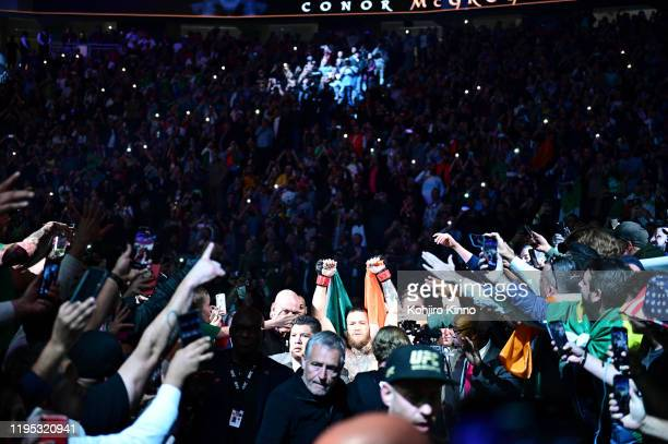 Fight Night 246: Connor McGregor wearing Ireland flag on his way to the ring before Welterweight match vs Donald Cerrone at T-Mobile Arena. Las...