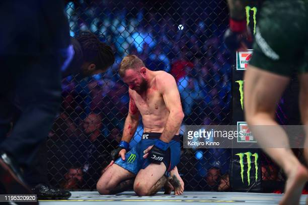 UFC Fight Night 246 Donald Cerrone down on his knees after knockdown vs Connor McGregor during Welterweight match at TMobile Arena Las Vegas NV...
