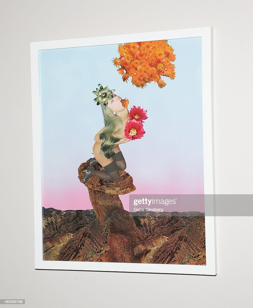A mixed media art piece titled 'Petal Tasting' by J.K. Russ is displayed during Vegas Magazine's 'Art Of The City' issue celebration at The Cosmopolitan of Las Vegas on July 25, 2015 in Las Vegas, Nevada.