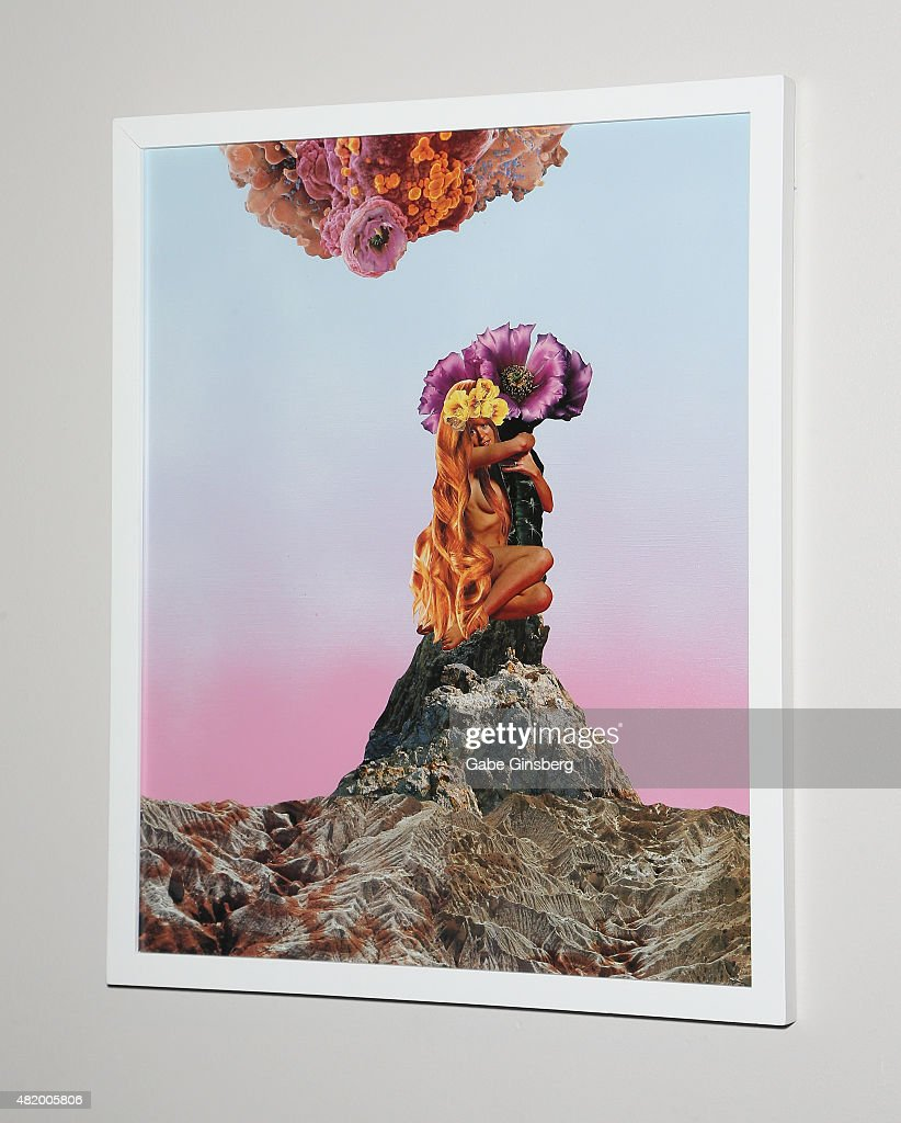 A mixed media art piece titled 'Spring Romance' by J.K. Russ is displayed during Vegas Magazine's 'Art Of The City' issue celebration at The Cosmopolitan of Las Vegas on July 25, 2015 in Las Vegas, Nevada.