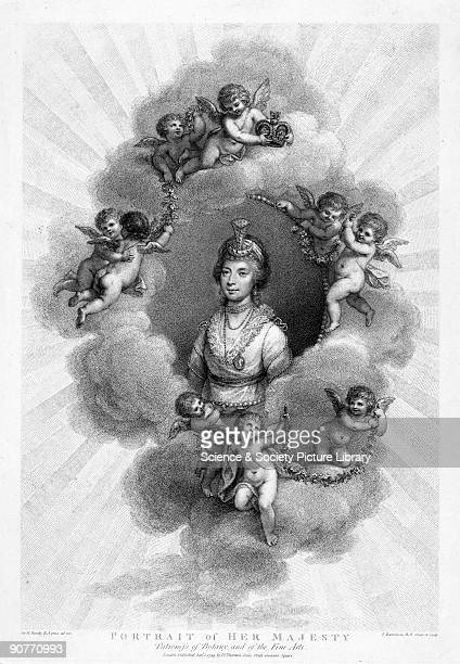 Mixed media engraving by F Bartolozzi after an original oil painting by Sir William Beechey of 1796 showing 'Her Majesty Patroness of Botany and the...