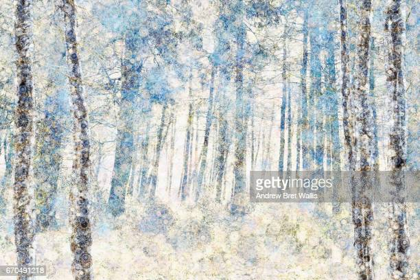 mixed media illustration depicting an ethereal morining spring woodland scene. - impressionism stock photos and pictures