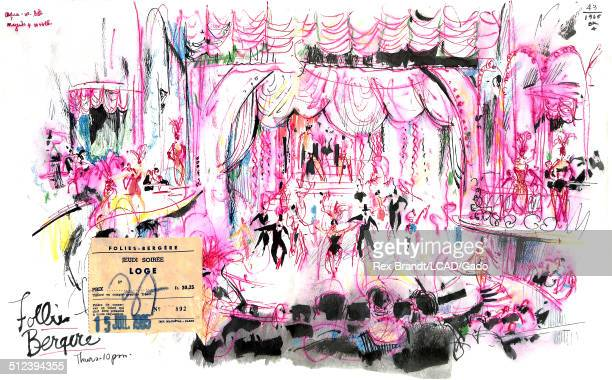 Mixed media painting of burlesque dancers and audience members at the Folies Bergere cabaret music hall Paris France July 15 1965 Brandt was a cubist...