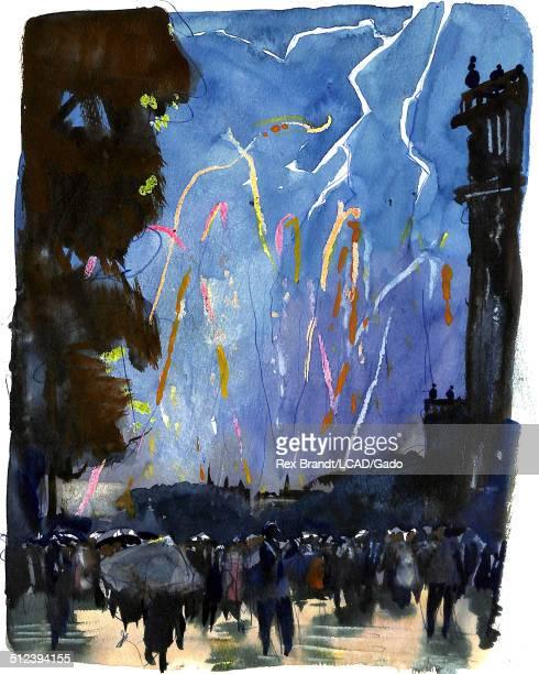 Mixed media painting shows a large crowd below fireworks at Pont Des Artes bridge during a Bastille Day celebration Paris France July 14 1965 Brandt...