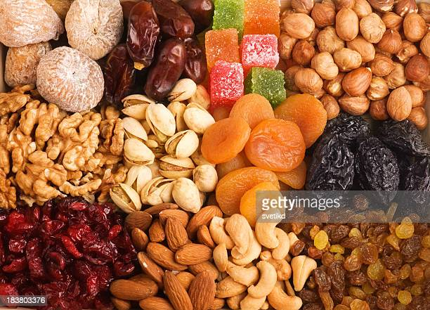 Mixed nuts and dried fruits.