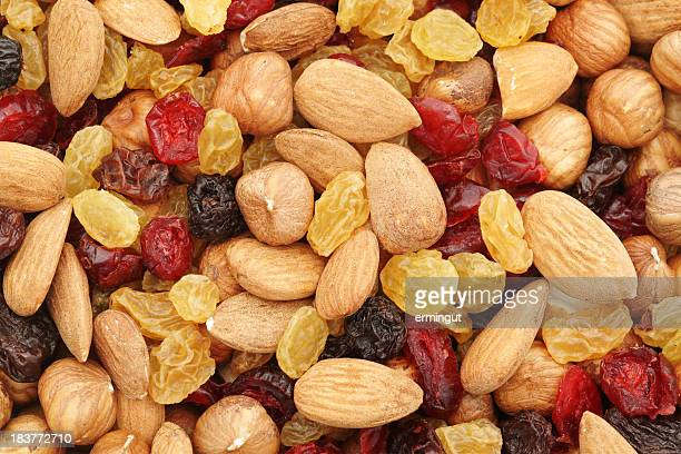 Mixed nuts and dry fruits background