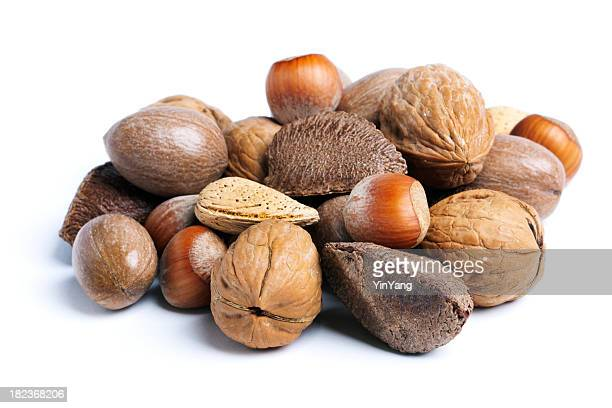 Nüsse in Muscheln, Essen Snack-Auswahl, isoliert auf weiss