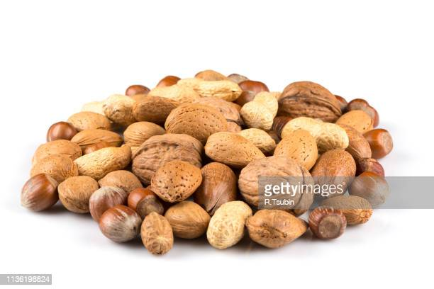 mixed nuts in shells on a white background - brazil nut fotografías e imágenes de stock