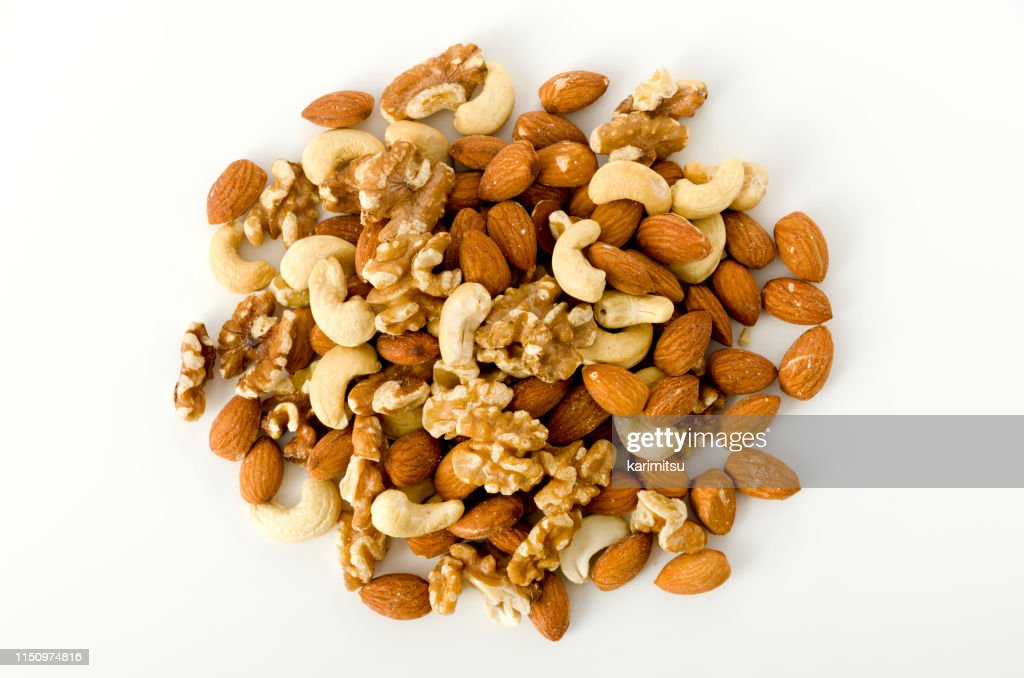 Mixed nuts on a white background. : Stock Photo