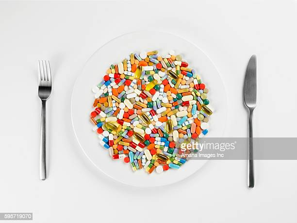 Mixed Pills on White Plate
