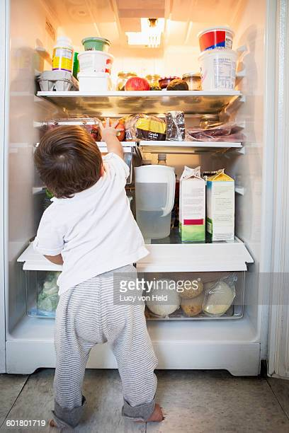 Mixed race baby boy exploring refrigerator