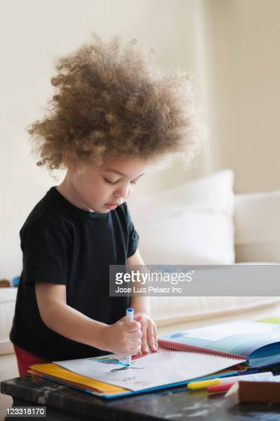 Mixed race boy drawing in book