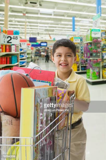 Mixed Race boy in department store