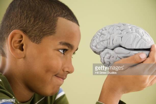 Mixed Race boy looking at model brain