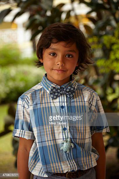 Mixed race boy smiling outdoors