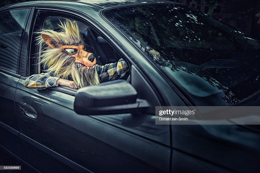 mixed race boy wearing wolf mask and driving car stock. Black Bedroom Furniture Sets. Home Design Ideas