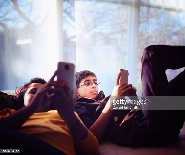 mixed race brother and sister texting on cell phones near window - palmerston north new zealand stock pictures, royalty-free photos & images