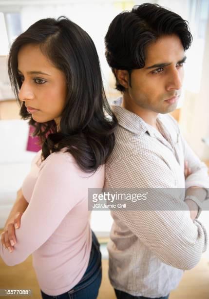 Mixed race couple having an argument
