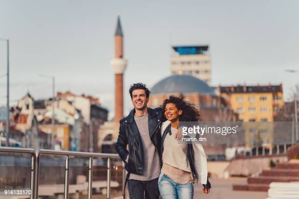 mixed race couple outside - love at first sight stock pictures, royalty-free photos & images