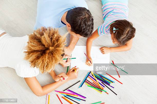 mixed race family coloring and drawing. - colouring stock pictures, royalty-free photos & images