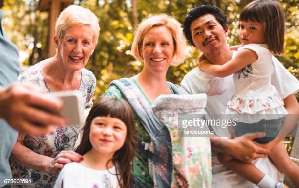 混血家族をすべて一緒に selfie