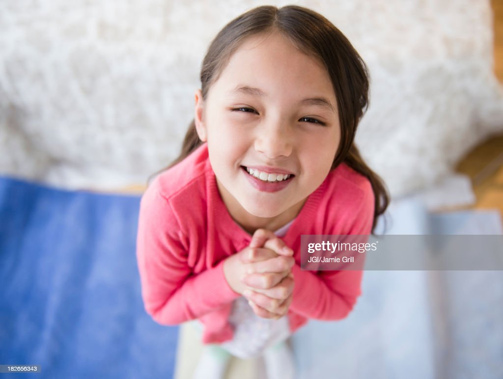 Mixed race girl begging : Stock Photo