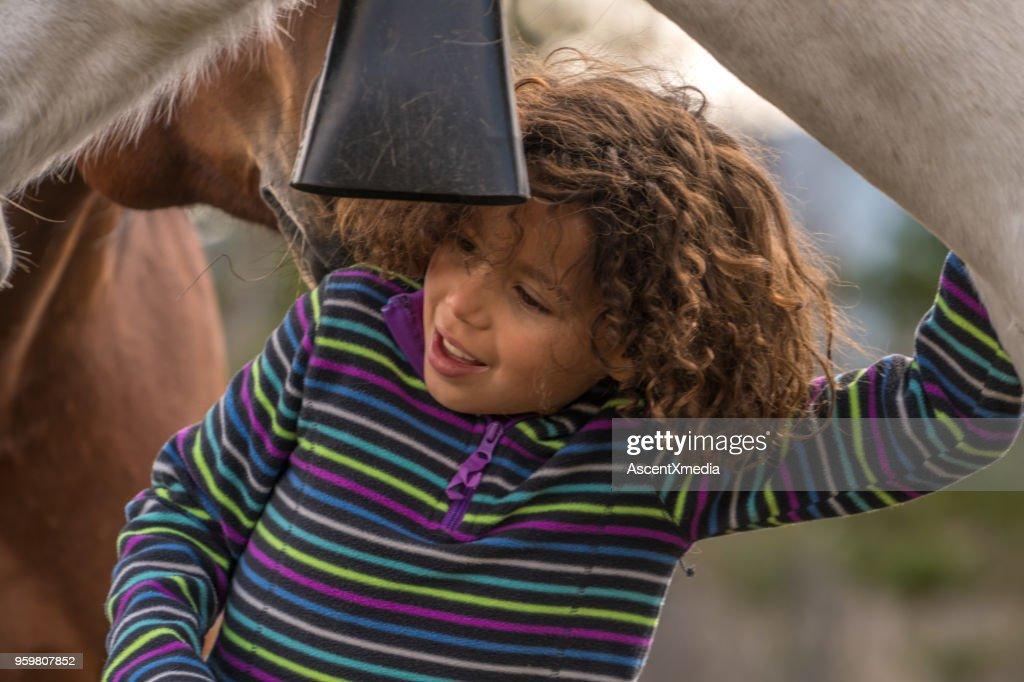 Niña de raza mixta se conecta con caballos por debajo de las montañas : Foto de stock